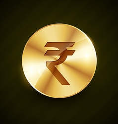 Indian ruppe gold coin with shiny effects vector
