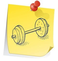 Doodle sticky note weight exercise vector
