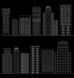Set of line skyscrapers black and white vector
