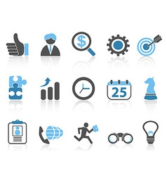 Business icons setblue series vector
