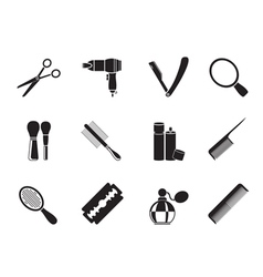Silhouette make up and hairdressing icons vector