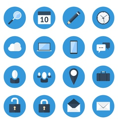 Blue web icon set vector