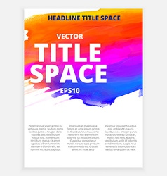 Colorful brochure with ink effects vector