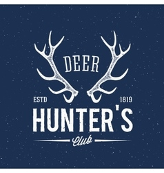 Deer hunters club abstract vintage label or logo vector