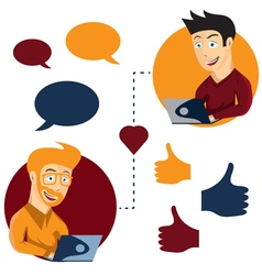 Online dating man and man app icons in cartoon vector