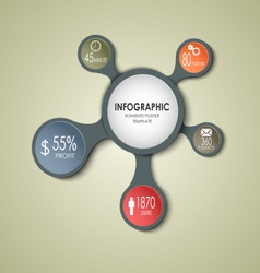 Abstract round business info graphic template vector