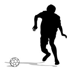 Silhouettes of soccer players with the ball vector