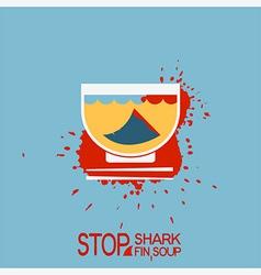 No blood shark finning soup poster vector