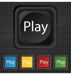 Play sign icon symbol set of colored buttons vector