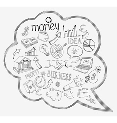 Speech bubble with business and money icons vector