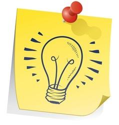Doodle sticky note lightbulb vector