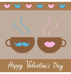 Two teacups with mustache and lips and hearts vector