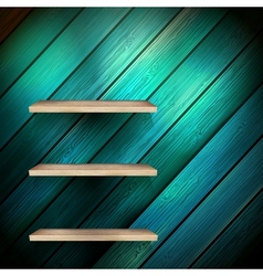 Empty shelf for exhibit on wood background eps 10 vector