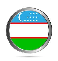 Uzbekistan flag button vector