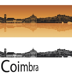 Coimbra skyline in orange background vector