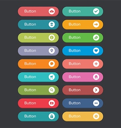 Flat rounded button set with icons vector