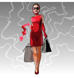 Beautiful stylish woman walks with shopping vector