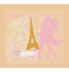 Romantic couple in paris kissing near the eiffel vector