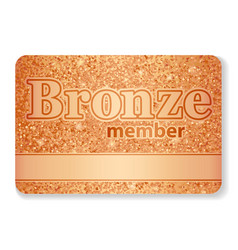 Bronze member vip card composed from glitters vector
