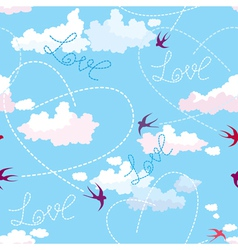 Seamless pattern with swallows hearts and clouds vector