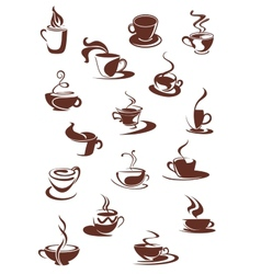 Set of hot coffee sketches vector