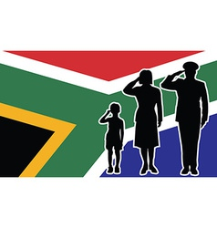 South africa soldier family salute vector
