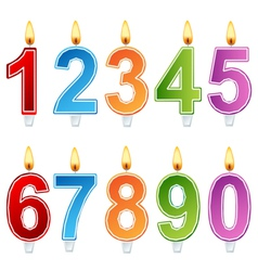 Birthday number candle set vector