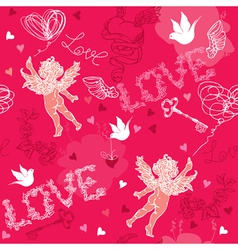 Valentines day seamless pattern with cupid vector