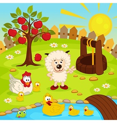 Yard with animals and pond vector
