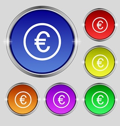 Euro icon sign round symbol on bright colourful vector