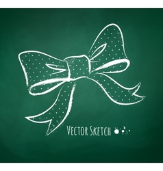 Chalkboard drawing of a bow vector