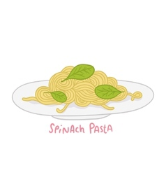 Cartoon hand drawn spinach pasta vector