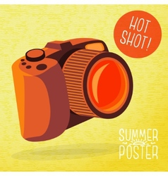 Cute summer poster - photo camera shots with vector