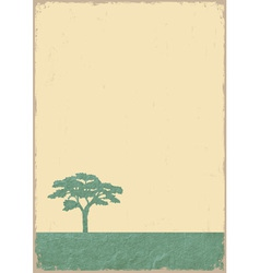 Silhouette of tree on grunge old paper vector