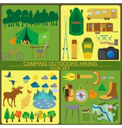 Set camping icon hiking outdoors vector