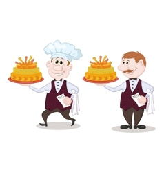 Cook and waiter with holiday cakes vector