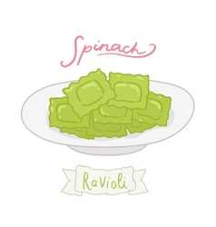 Cartoon hand drawn spinach ravioli vector