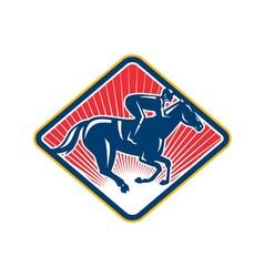 Jockey horse racing side retro vector