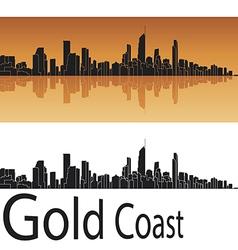 Gold coast skyline in orange background vector