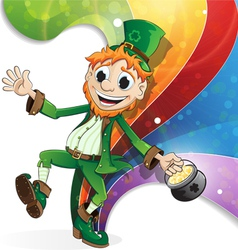 Leprechaun on rainbow background vector