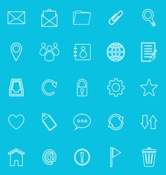 Mail line icons on blue background resize vector