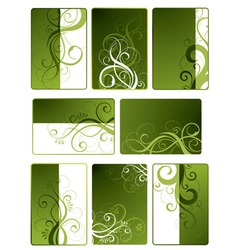 Green floral designs vector