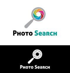 Photo search logo template vector