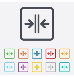 Close the door sign icon control in the elevator vector