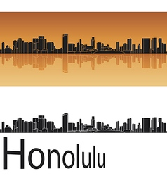 Honolulu skyline in orange background vector