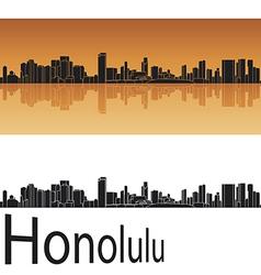 Honolulu skyline in orange background vector