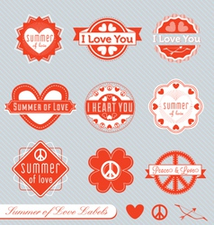 Summer of love labels vector