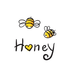 Bee love honey vector