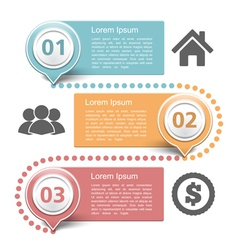 Design template with three steps vector