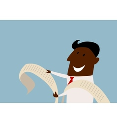 Cartoon african businessman reading a report vector